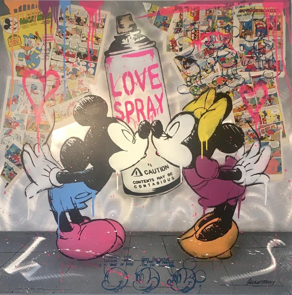 Mickey Love Spray, Unikat von Michel Fries, Mischtechnik auf Alu-Dibond, handsigniert, 100 x 100 cm, Preis auf Anfrage
